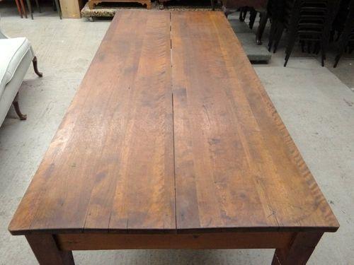 Large Vintage Farm Harvest Dining Table, 8ft Rustic Industrial .