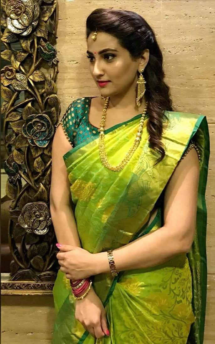 e248c1fed039e2 Anchor Manjusha in green colour pattu silk saree.   Sarees in 2019 ...