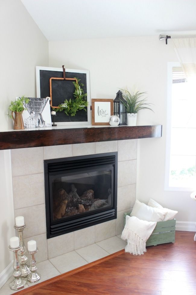 The Inspiration Gallery A Weekly Link Party Corner Fireplace Makeover Corner Mantle Decor Corner Fireplace