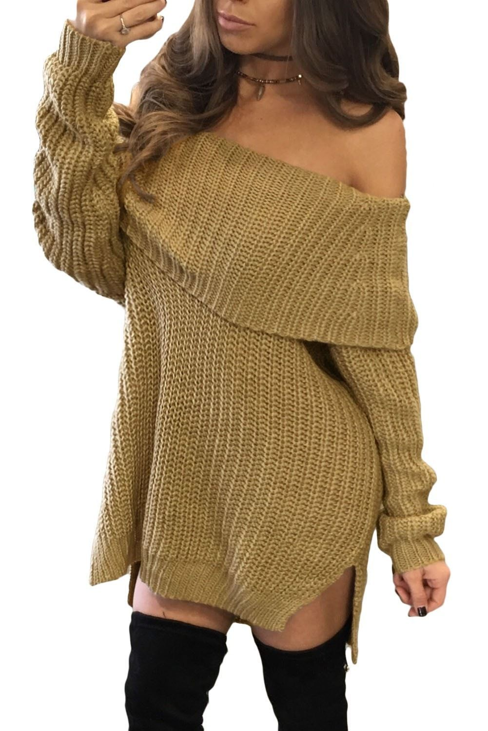 Apricot Thick Knit Side Slit Off Shoulder Sweater | Products ...
