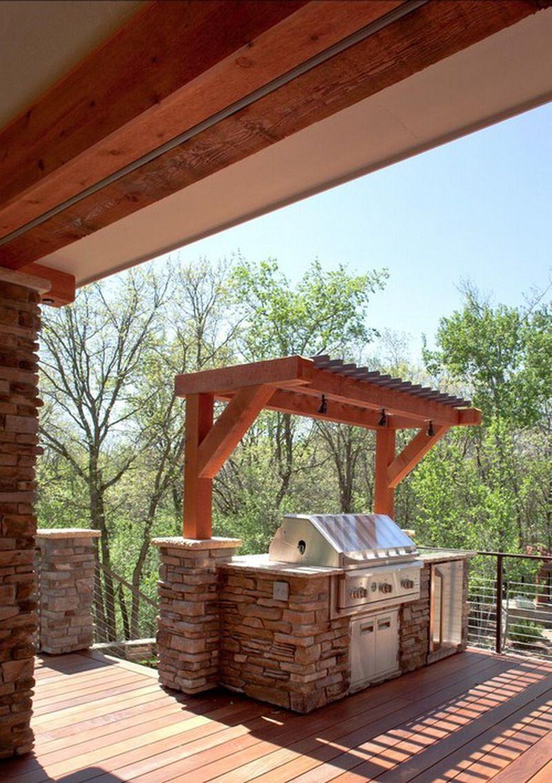 Custom pergola for contemporary outdoor patio grill ideas