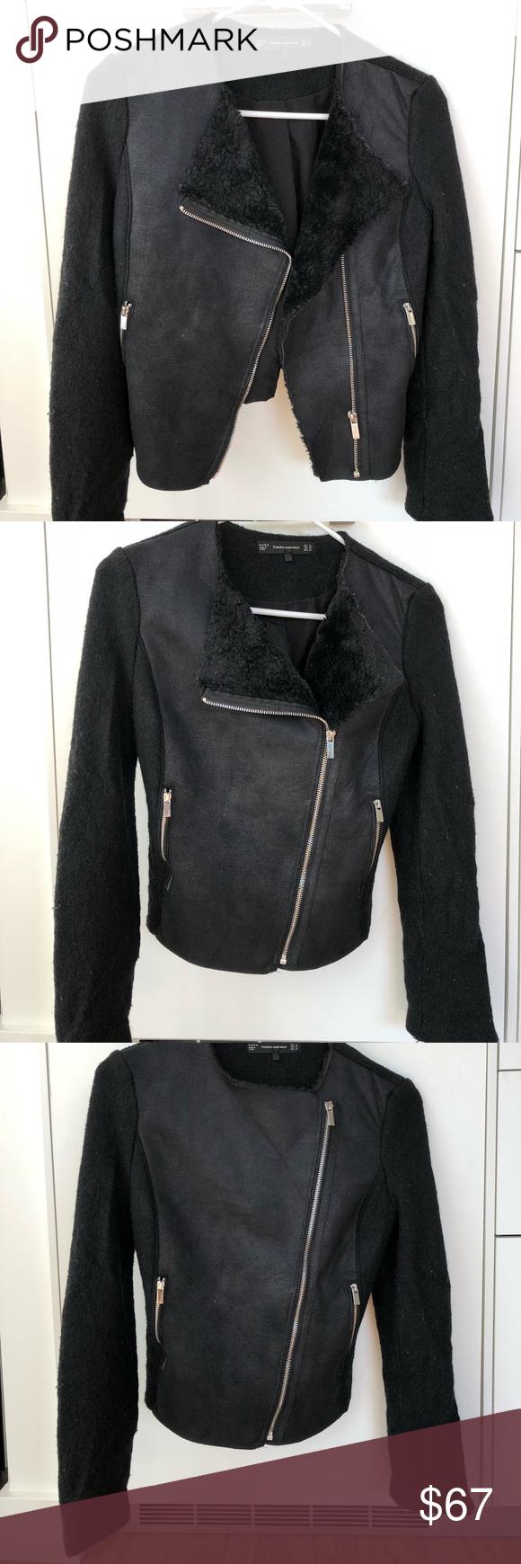 Zara Trafaluc Outerwear Black Suede Jacket Zara Trafaluc Outerwear Suede Wool With Silver Zippers Black Size Xs Black Suede Jacket Suede Jacket Black Suede [ 1740 x 580 Pixel ]