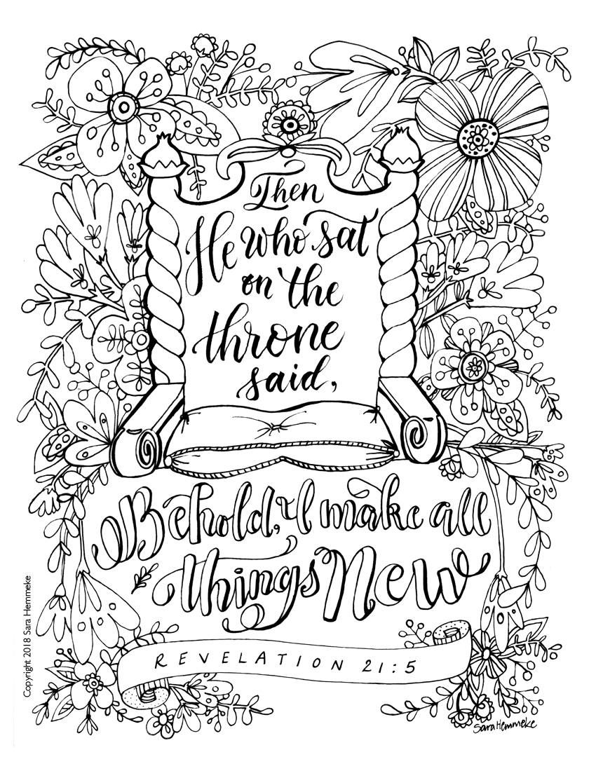 Coloring Page Bible Verse Revelation 21 5 Download Bible Verse