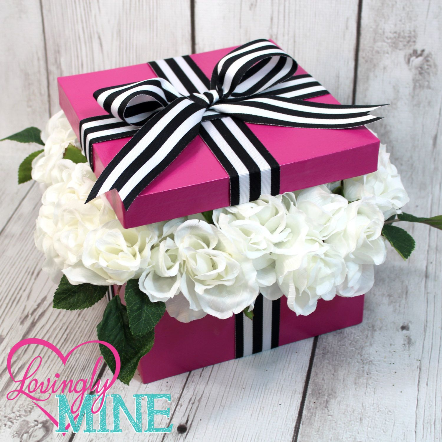 Fuchsia Black White Stripes White Faux Silk Roses Centerpiece Box Perfect For Any Event Bridal Shower Birthday Sweet Sixteen Bridal Shower Favors Pink Bridal Shower Kate Spade Bridal Shower