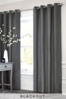 Charcoal Cotton Blackout Eyelet Curtains Studio Collection By Next