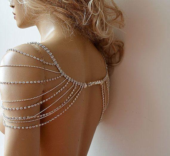 Photo of Shoulder bridal necklace, silver rhinestone wedding shoulder …