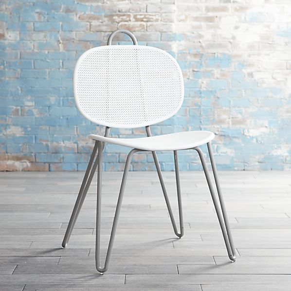 Mallorca Metal Grey And White Side Chair   Paola Navone Collection For Crate  U0026 Barrel