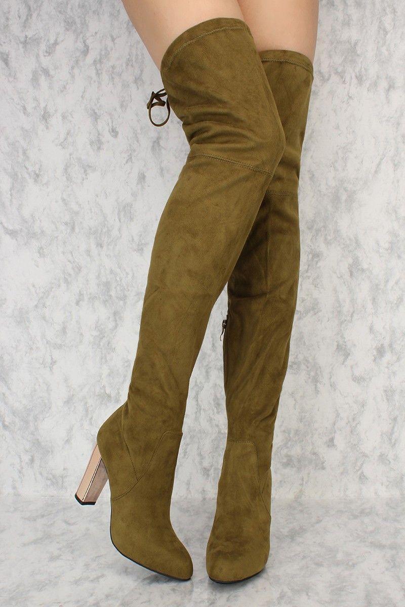 2fa8b2e1c81 Olive Slim Pointy Toe Thigh High Metallic Chunky Heel Ami ClubWear Boots  Faux Suede