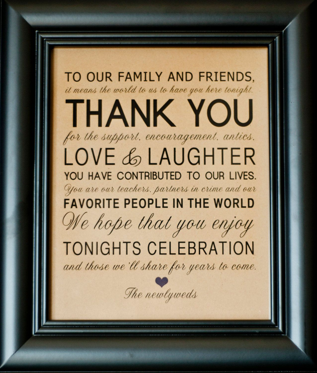 Thank You Wedding Reception Sign For Family And Friends 8 X 10 Printed