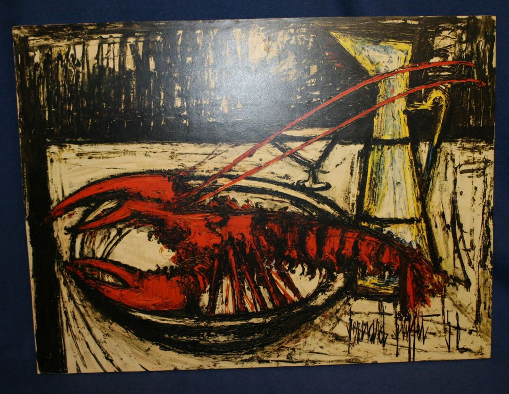 Excellent Vintage Bernard Buffet 70S Block Mounted Print Lobster Home Interior And Landscaping Palasignezvosmurscom