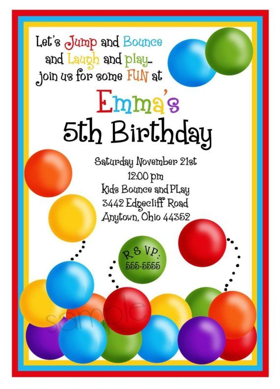Ball Pit Invitations Ball Pit birthday Party Bouncy House – Childrens Birthday Party Invitations