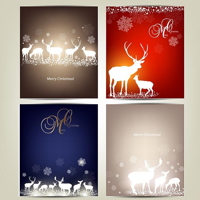 Free Vector Elegant Set Of Small Merry Christmas Cards Christmas Card Template Christmas Card Packs Merry Christmas Card