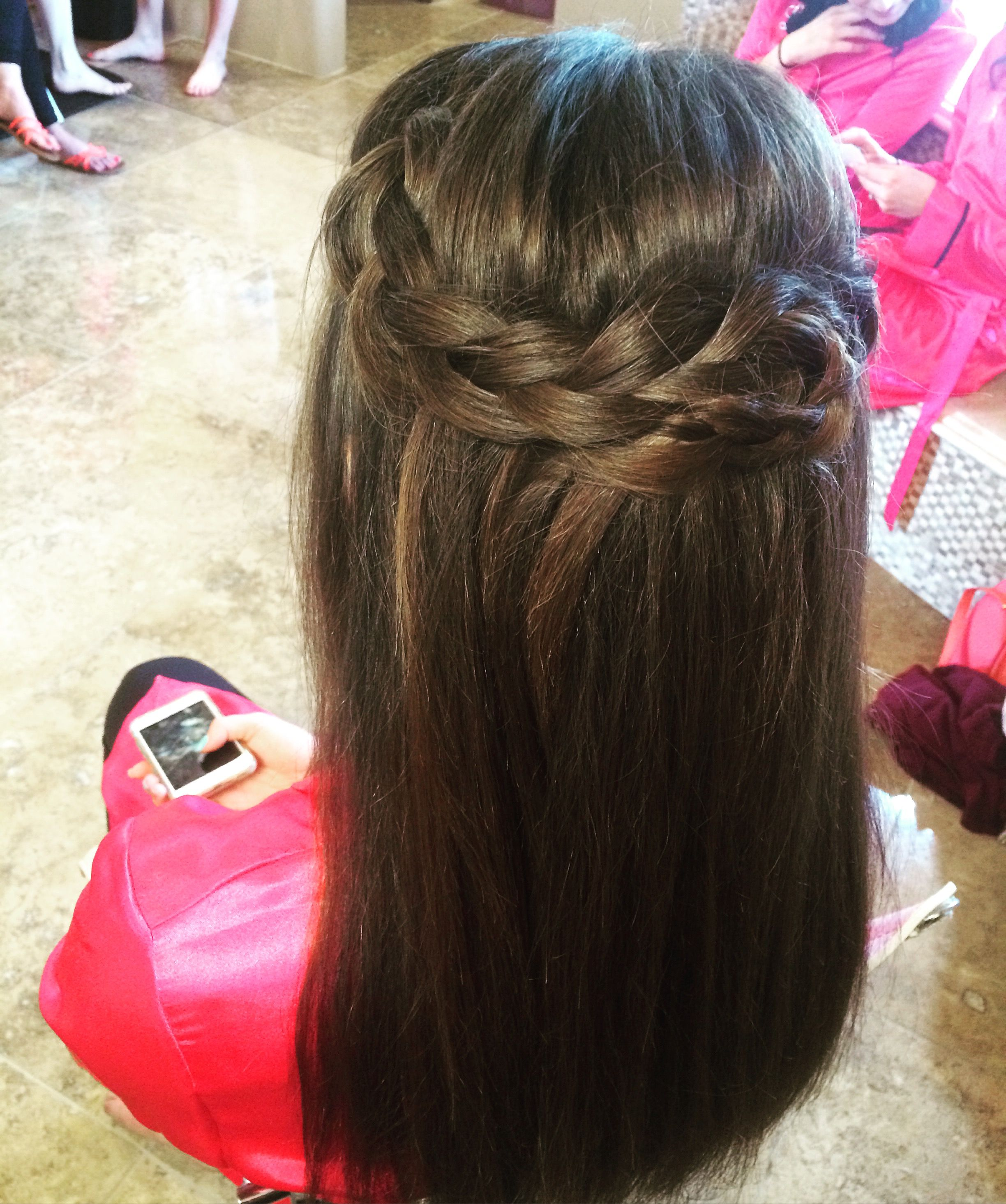 wedding hairstyle braid half up half down straight hair