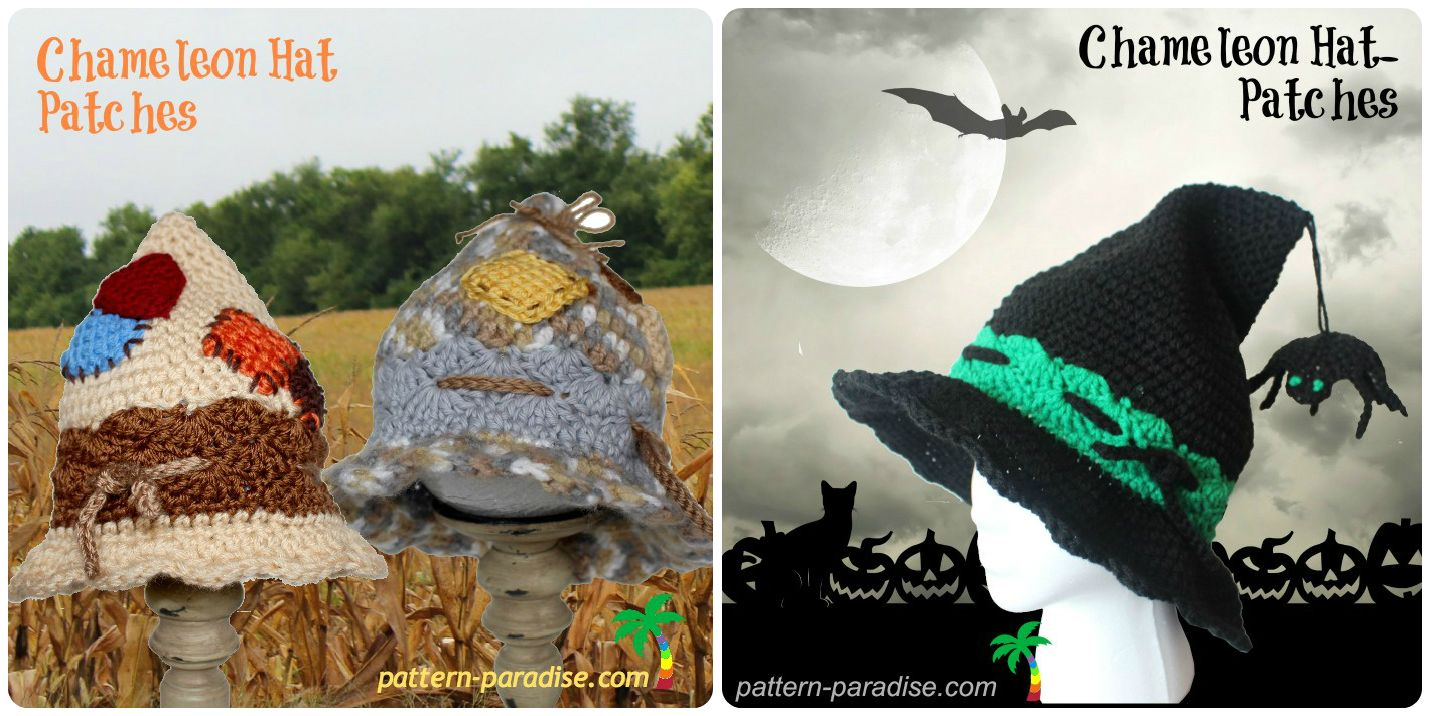1c56b398228 Chameleon Patches Hat or Witch Hat Crochet Beanie Hat