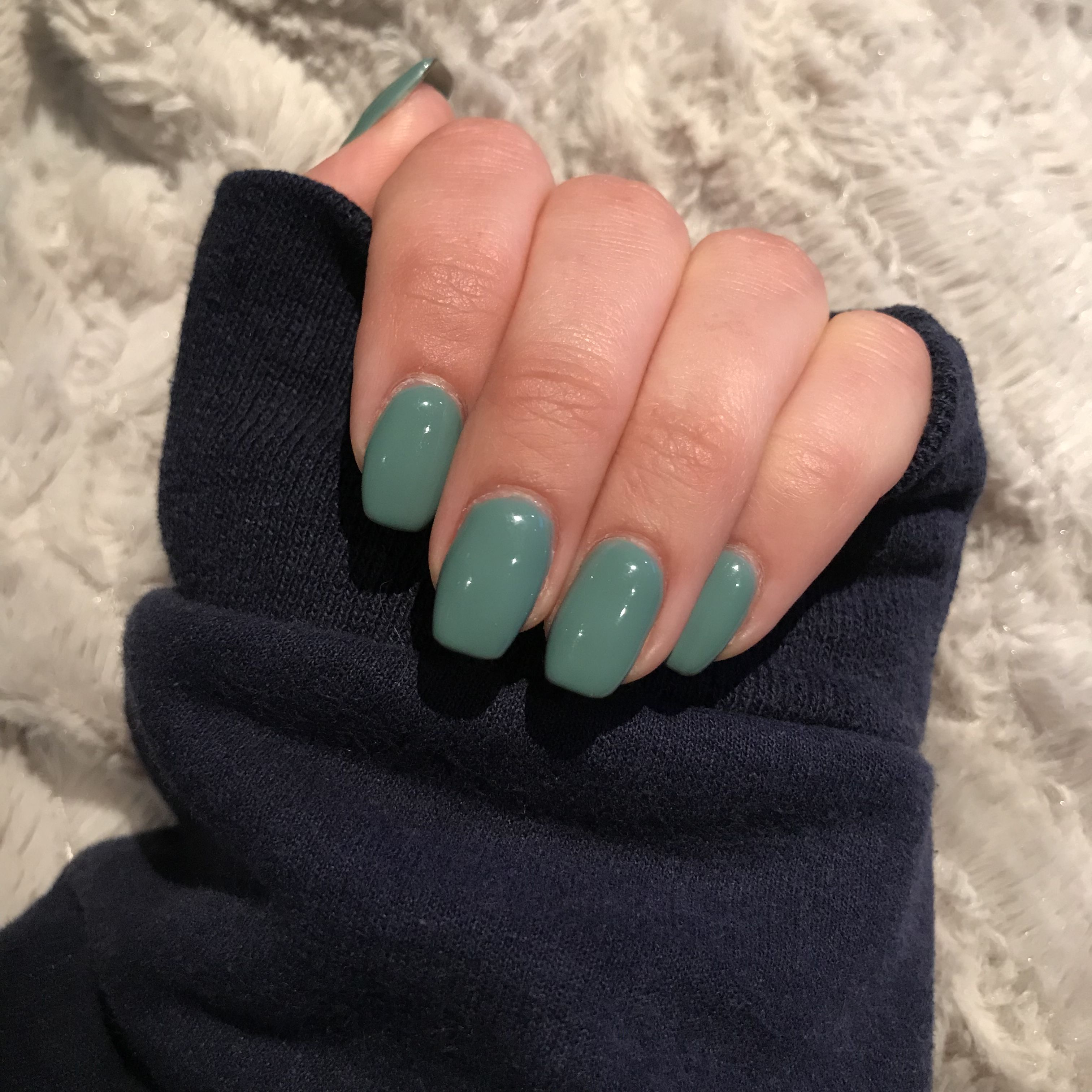 Mid Length Acrylic Slight Coffin Shape Nails In Teal Coffin Shape Nails Gel Nails Shape Teal Nails