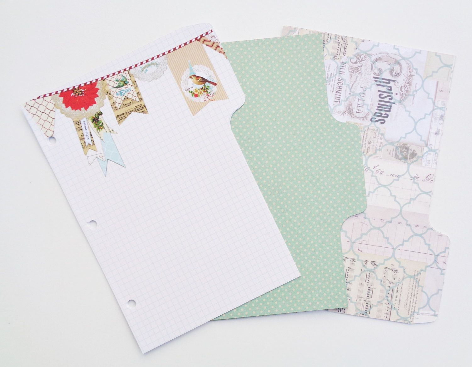 A planner divider pages christmas vintage birds and vintage green