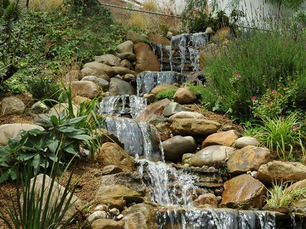 Backyard Waterfalls Ideas backyard water feature ideas diy waterfalls ponds and other fun waterfall designs Find This Pin And More On Landscaping A Slope Backyard Waterfall