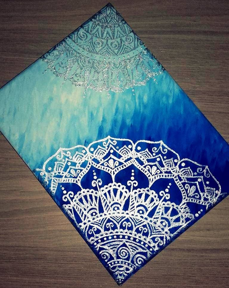 one of my first canvas paintings mandala canvas painting