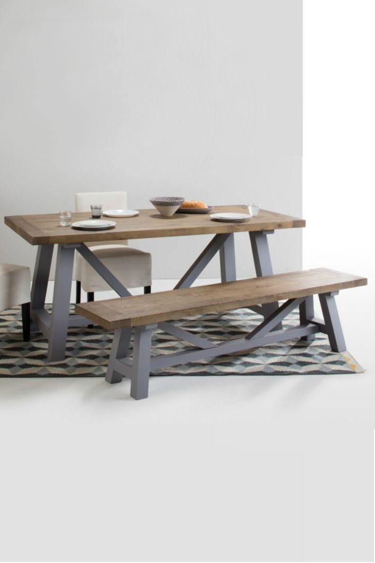 Iona kompakter Esstisch und Bank aus massivem Pinienholz