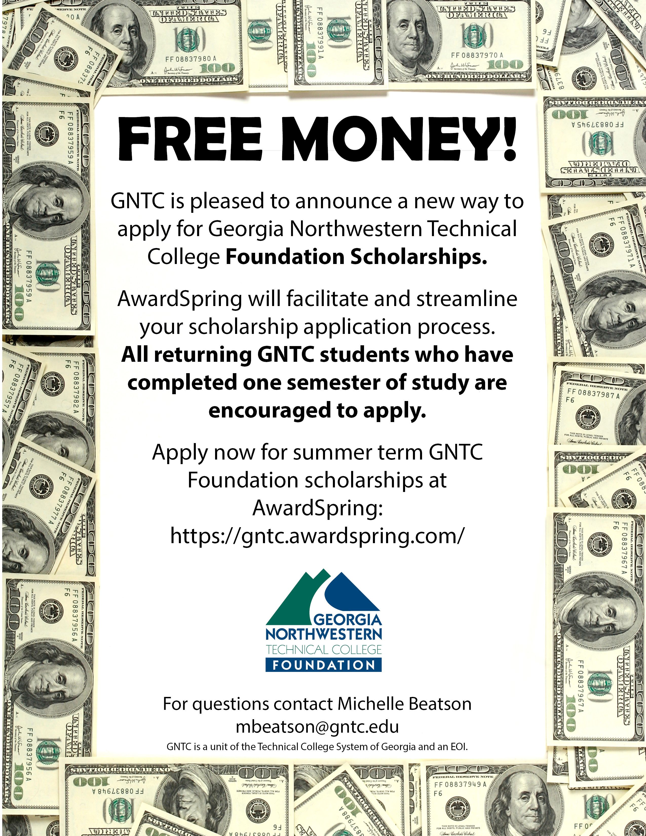 FREE MONEY! GNTC is pleased to announce a new way to apply