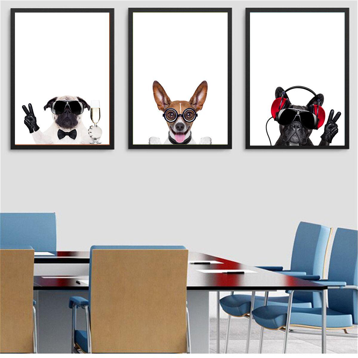 Funny Pug JRT Terrier Frenchie Dog Canvas Print Pet Decor