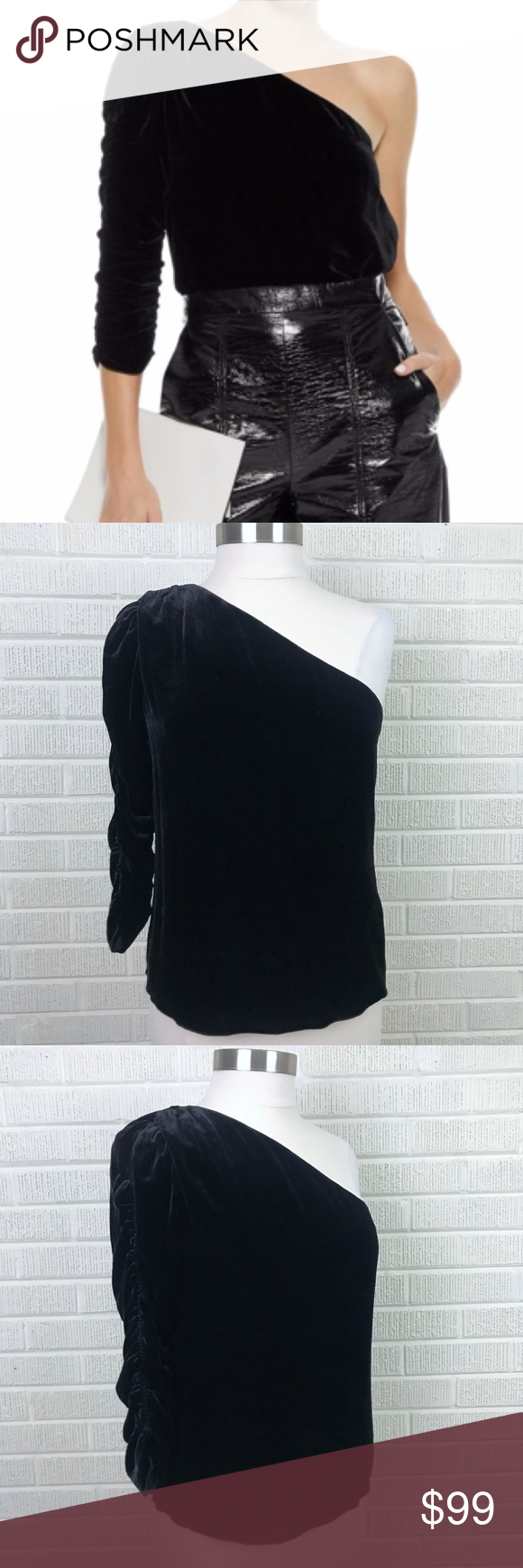 5e5f42f989aca0 Joie Wayman One-Shoulder Velvet Top Black NWT 8 - Joie Wayman One-Shoulder