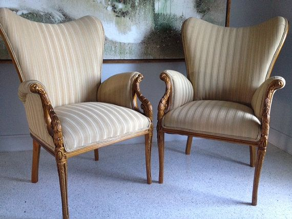 Pair Of 1940 39 S Hollywood Regency Vintage Mid Century Modern Antique Wood And Upholstered