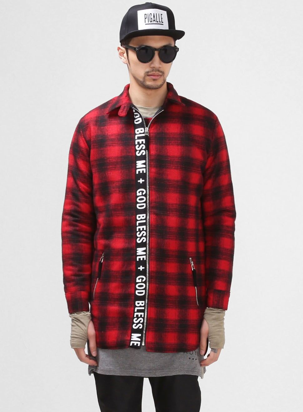 Woolblends Patchwork Plaid Zip-up Shirt Jacket $76.00 #Fashion #Street #Style #Plaid #Red #Blue