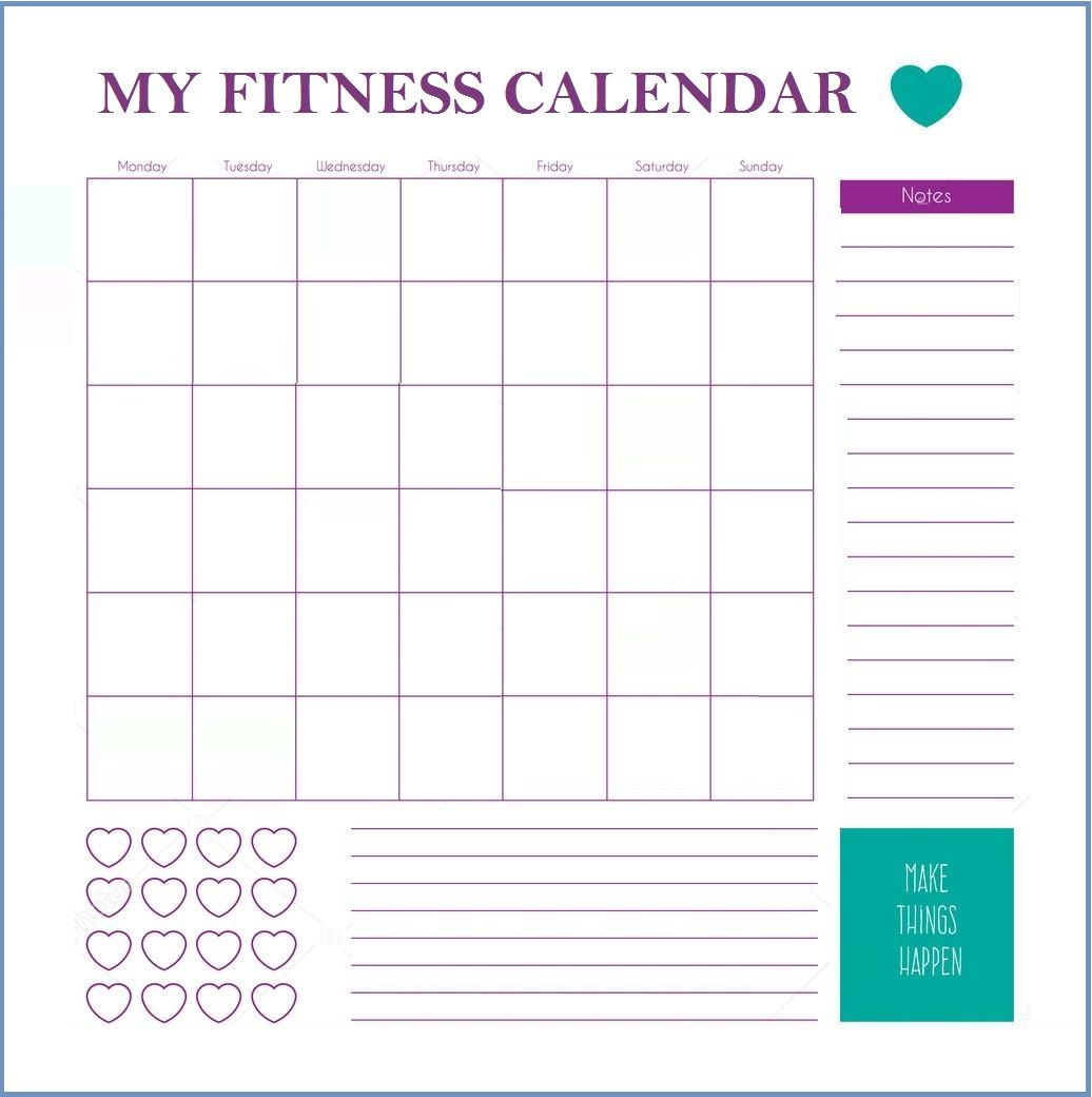 Fitness Calendar Template Workout Calendar Workout Calendar Printable Workout Template