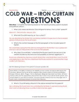 Cold War Iron Curtain Speech And Cartoon Analysis With Teacher Key Cold War 6th Grade Social Studies Speech