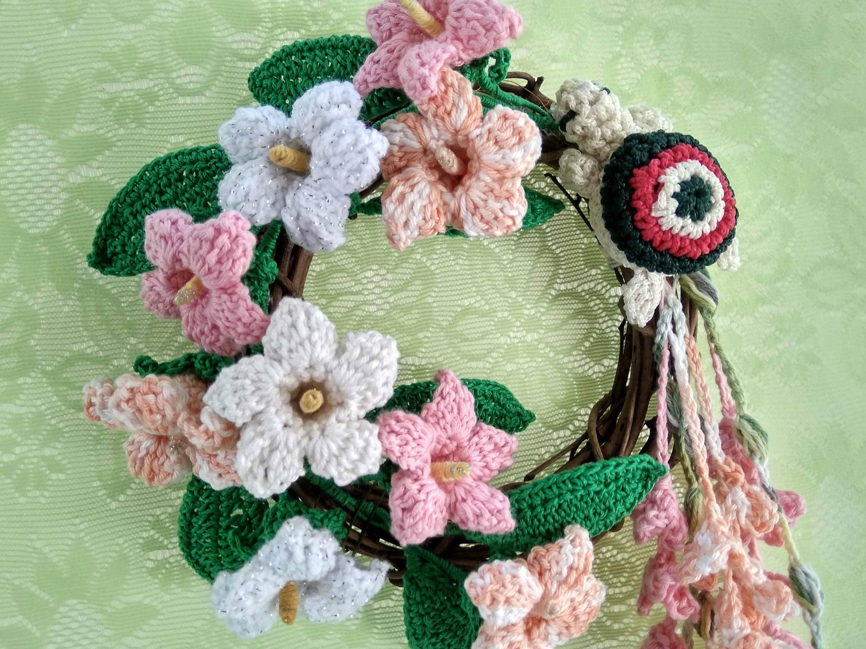 Photo of Door wreath, Crochet flowers, Unique wreath, Flower wall hanging, Boho decor, Flower wall art, Floral wreath, Crochet turtle, Rattan wreath