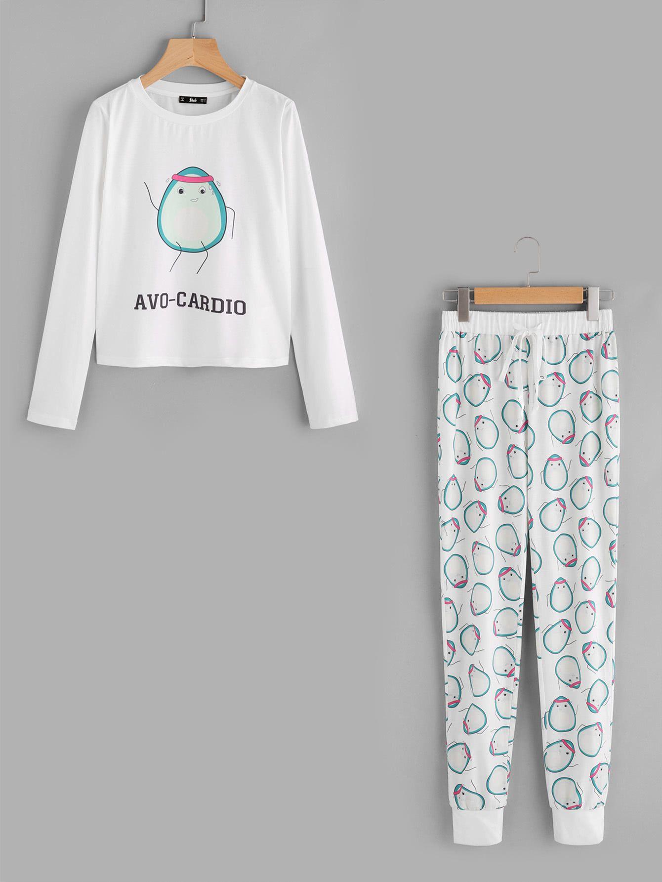 9b2bcdfe43 Shop Avocado Print Tee And Drawstring Sweatpants Pajama Set online. SheIn  offers Avocado Print Tee