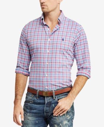 eb99be6d958130 Polo Ralph Lauren Men's Classic Fit Plaid Oxford Shirt - Pink/blue Multi XS