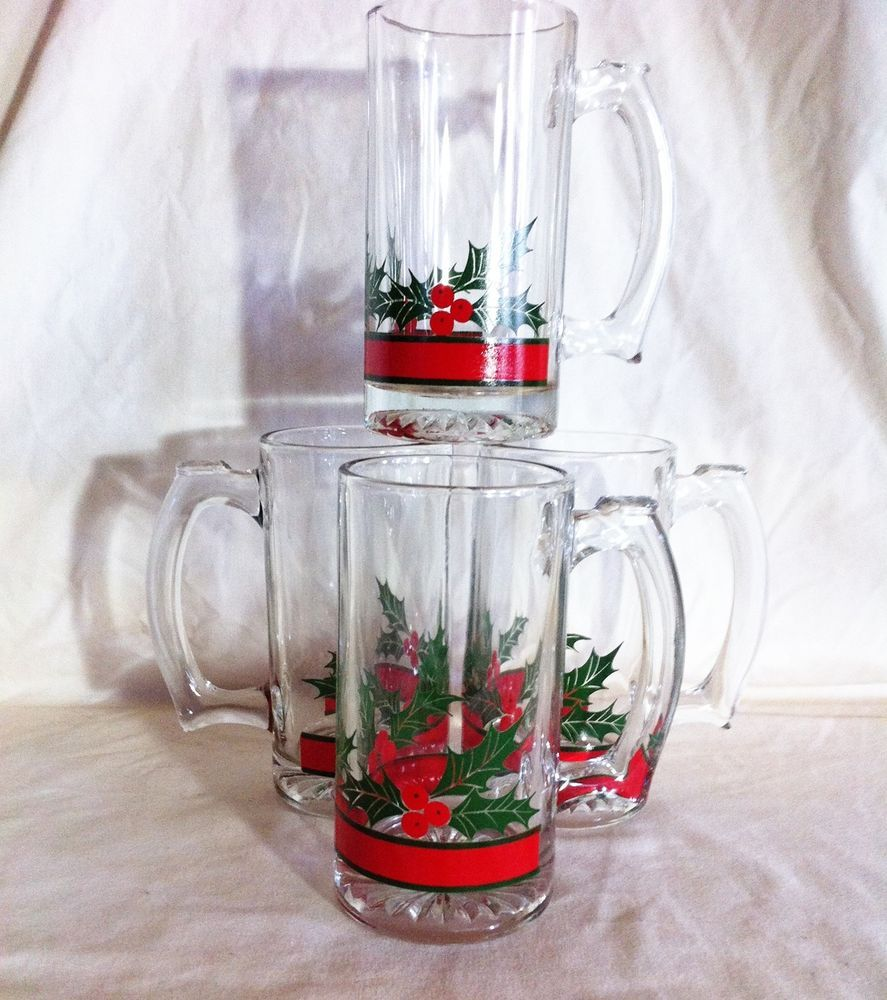 Libbey Holiday Holly & Berries 12 ounce Glass Beer Mugs