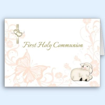 Baby Lamb Peach First Communion Greeting Card First Holy Communion