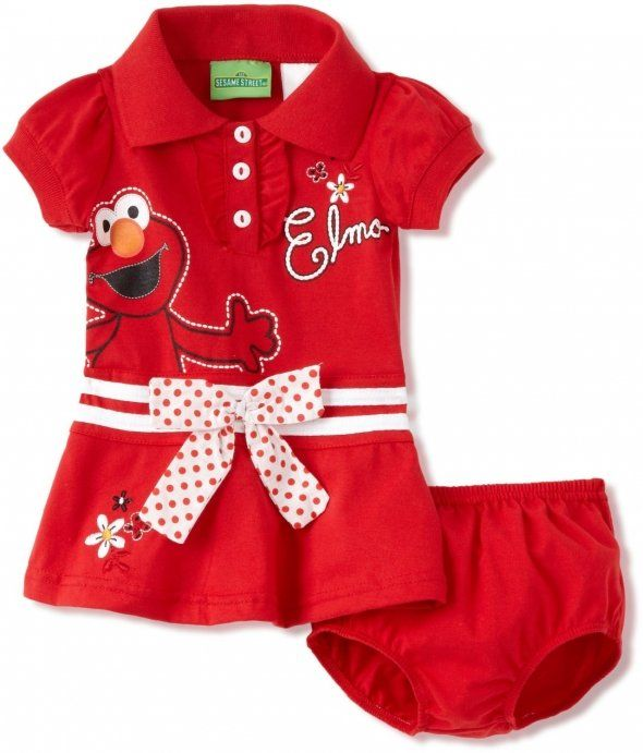 Sesame Street Baby Girls Infant Elmo Bow Dress Baby Toddler