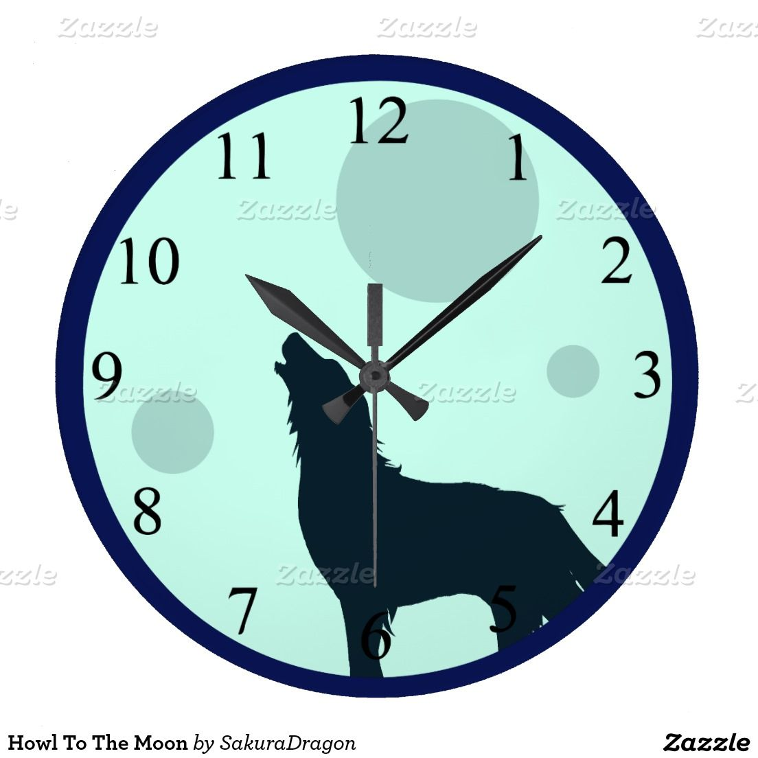 Howl To The Moon Round Wall Clock #wolf #wolves #howl #moon #animals