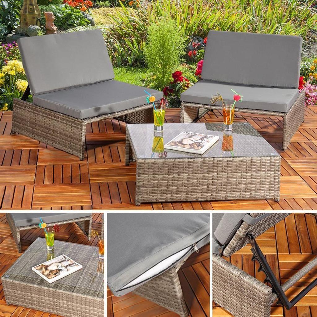 Sitzgarnitur Gartenmobel Sitzgruppe Lounge Poly Rattan Mobel Set