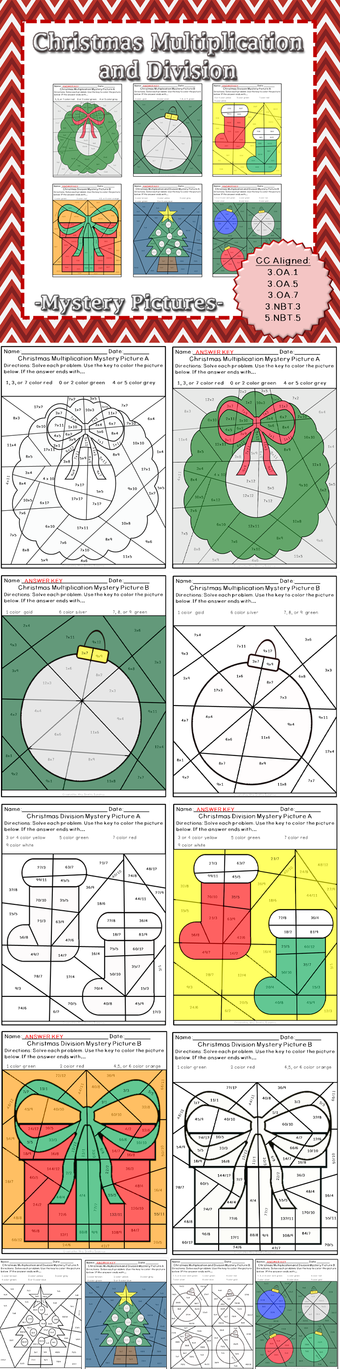 Christmas Multiplication and Division Mystery Pictures | Math fact ...