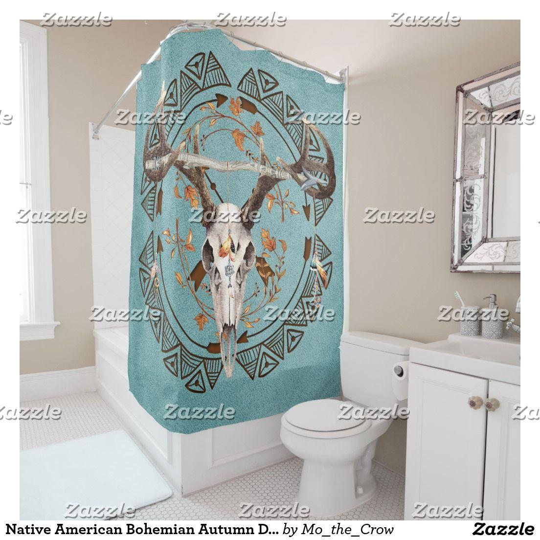 Native American Bohemian Autumn Deer Skull Shower Curtain