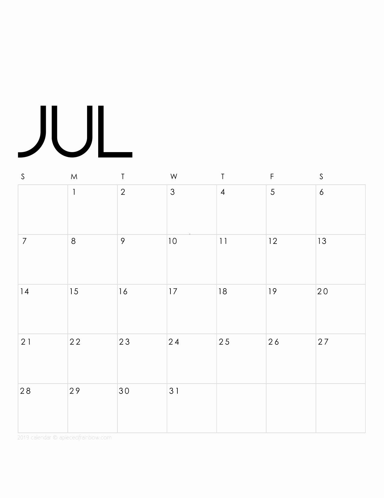 Monthly Calendar Template Awesome Printable July