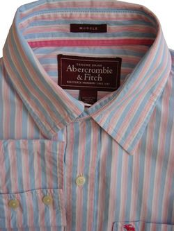 7f85f45f ABERCROMBIE & FITCH Shirt Mens 16 L Blue – White & Pink Stripes MUSCLE