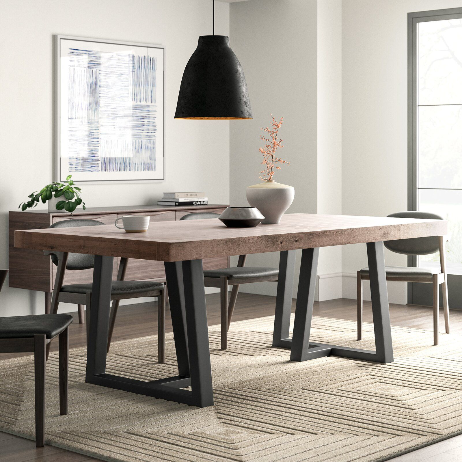 Foundstone Stephen Pine Solid Wood Dining Table Wayfair In 2020 Solid Wood Dining Table Modern Dining Room Wood Dining Table