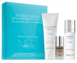 Get your most radiant skin before this limited edition offer ends. NeoCutis Bio-Restorative Brightening System uses three targeted products to brighten the skin and even tone.    The kit includes NeoCleanse Exfoliating Cleanser, Perle Skin Brightening Cream with Melaplex, and Journee Bio-restorative Day Cream with PSP SPF 30+. $175