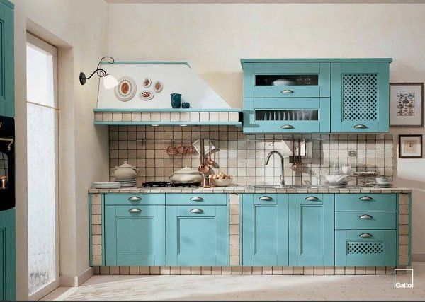 Cucine in muratura: Gatto, Emma azzurra | Sportelli Dispensa ...