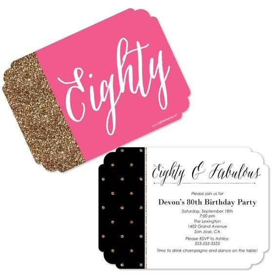 Chic 80th Birthday Pink Black And Gold Invitations