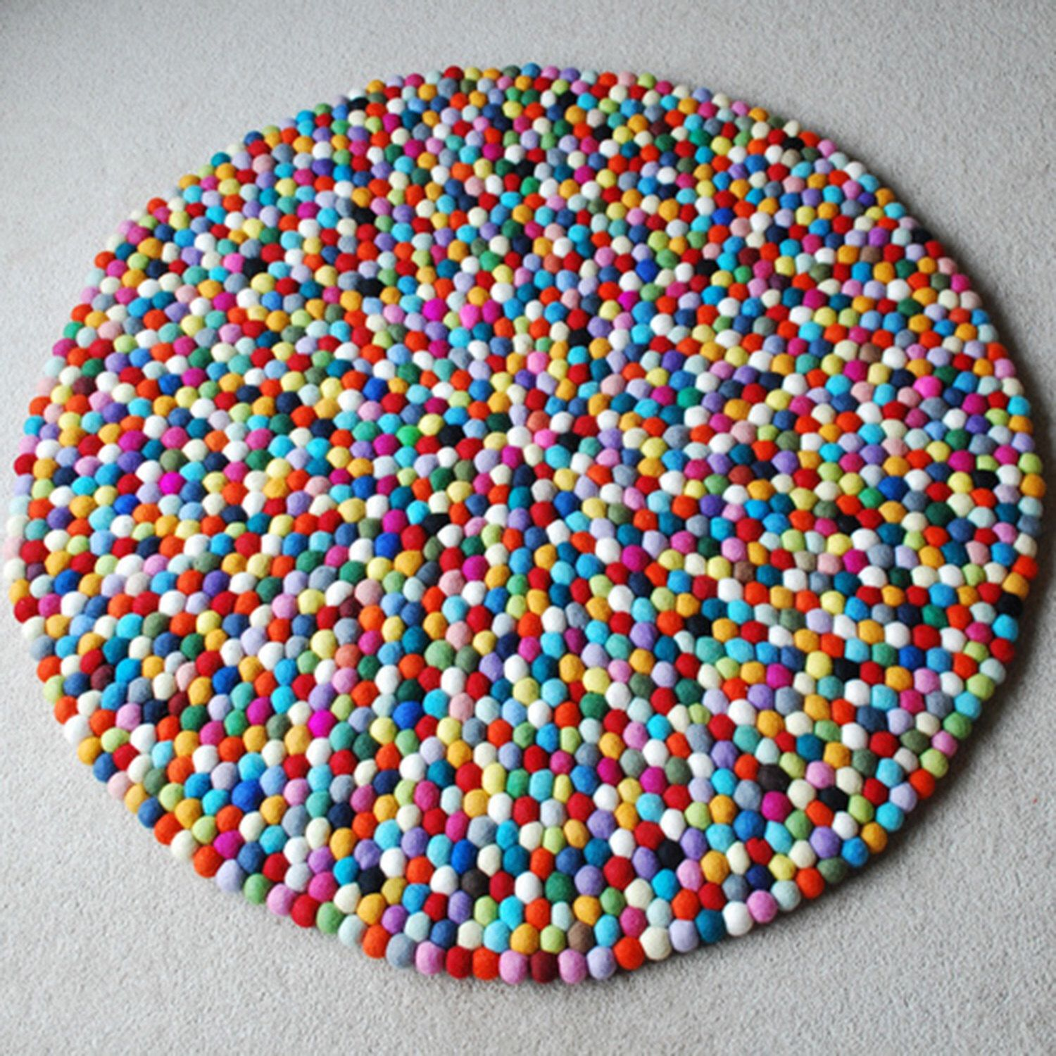 100cm Multicoloured Felt ball Rug Round Felt Rug Kids Bedroom