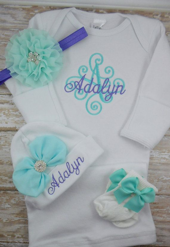edbd6a1ab4a8b Baby girl coming home outfit, Personalized baby gown, hat, monogram, name,  initial, bring home outfit, hospital gown, take home outfit, set