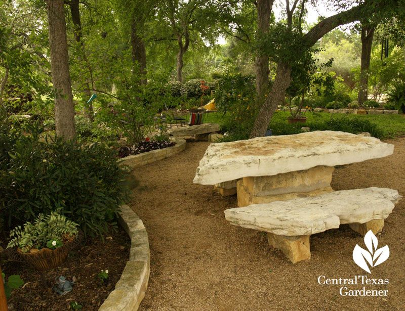 Lovely Stone Picnic Table For Shady Garden Central Texas Gardener - Stone picnic table