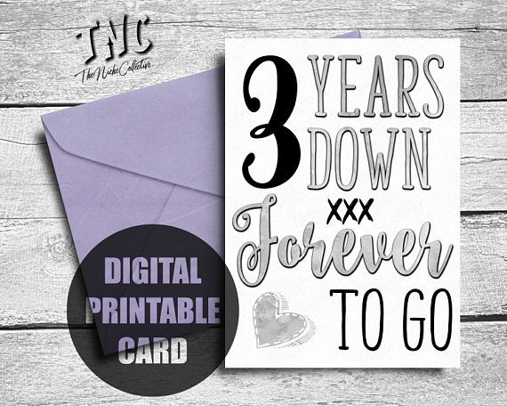 3rd Anniversary Card Printable Third Anniversary 3 Year Etsy Anniversary Cards For Boyfriend Anniversary Cards Wedding Anniversary Cards